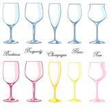 różny szklany ustalony winograd Obraz Stock