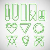 Różny typ zielone papierowe klamerki Zdjęcia Royalty Free