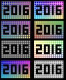 2016 różnych barwionych kwadratów Fotografia Royalty Free