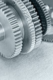 Różnych metali gearwheels makro- widok Obraz Royalty Free