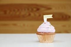 Różowa babeczka Fotografia Royalty Free