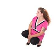 różowa kucanie kobieta Obrazy Stock