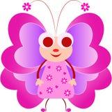 Różowa Motylia ilustracja, Motylia kreskówka Zdjęcia Royalty Free