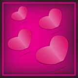Różowa papieru 4 serc karta. Obraz Stock