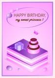 Różowa urodzinowa karta dla twój princess Zdjęcie Royalty Free