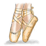 Różowi balerina buty Baletniczy pointe buty z faborkiem Zdjęcia Royalty Free