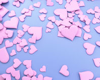 Różowi serca - 3d ilustracja Fotografia Stock