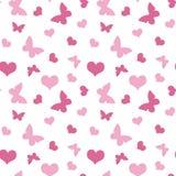 Różowi serca i motyliego walentynki ` s dnia wzoru bezszwowy vecto Obraz Stock