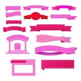Różowi sztandary Ilustracyjni Zdjęcia Stock