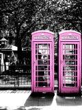 Różowi telefonów booths w Londyn Zdjęcie Stock
