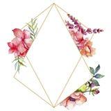 Różowy bukieta wildflower Ramowy rabatowy ornamentu kwadrat Obraz Royalty Free