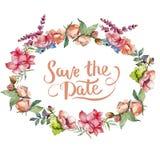 Różowy bukieta wildflower Ramowy rabatowy ornamentu kwadrat Obrazy Royalty Free