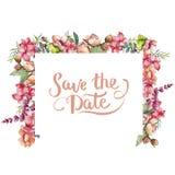 Różowy bukieta wildflower Ramowy rabatowy ornamentu kwadrat Zdjęcia Stock