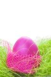 Różowy Easter jajko na trawie Zdjęcia Royalty Free