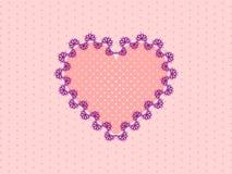 Różowy koronkowy serce na menchii kropkowanym tle Fotografia Stock