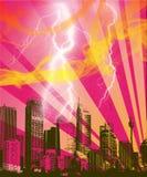 różowy miasteczko Ilustracji