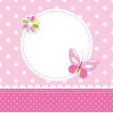 Różowy motyli dziewczynki kartka z pozdrowieniami Zdjęcie Royalty Free