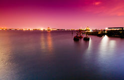 Różowy niebo port morski Zdjęcia Royalty Free
