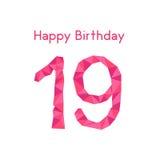 Różowy poligonalny 19th wszystkiego najlepszego z okazji urodzin Fotografia Royalty Free