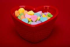 Różowy serce w cukierku naczyniu Obraz Stock