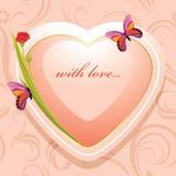 Różowy serce z kwiatami i motylami na ornamentacyjnym tle Zdjęcie Royalty Free