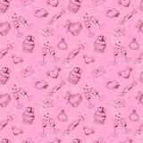 Różowy szkicowy walentynka dnia bezszwowy wzór Zdjęcia Royalty Free