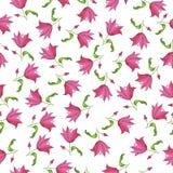 Różowy tulipan lub lilly kwitnie akwarela wzór ilustracja wektor