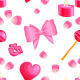 Różowy wektorowy bezszwowy wzór z valentine rzeczami royalty ilustracja