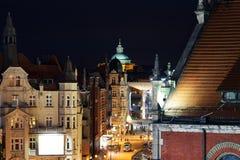 Śródnocna lotnicza widok panorama Katowicki, Polska Zdjęcia Stock