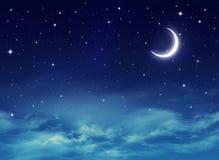 Śródnocny niebo z gwiazdami Obrazy Stock