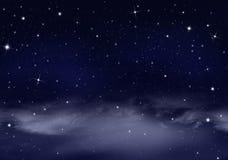 Śródnocny niebo z gwiazdami Fotografia Stock