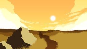 Śródpolna krajobrazowa ilustracja Zdjęcia Stock