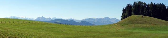 śródpolna zielona panorama Zdjęcia Royalty Free