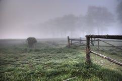 śródpolny mglisty ranek Obrazy Royalty Free