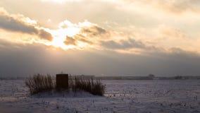 Śródpolny zima zmierzch Fotografia Stock