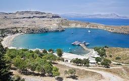 Śródziemnomorski krajobraz, Rhodes, Grecja Zdjęcie Stock