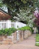 Róg Ulicy, natura i Biały palika ogrodzenie, zdjęcie royalty free