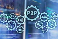 Rówieśnik ono przyglądać się P2P na wirtualnym ekranie z serweru pokoju tłem ilustracji
