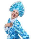 również jako zbioru dziewczyny Rosji lalka, snegourochka śnieg pięknego portreta uśmiechnięci zima kobiety potomstwa Obraz Stock