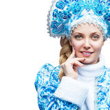 również jako zbioru dziewczyny Rosji lalka, snegourochka śnieg piękni portreta zima kobiety potomstwa stosowanie opieki skóry prz Fotografia Stock