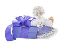 również jako zbioru dziewczyny Rosji lalka, snegourochka śnieg prezent, łęk Zdjęcie Royalty Free