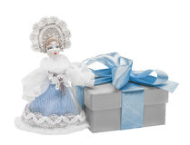 również jako zbioru dziewczyny Rosji lalka, snegourochka śnieg prezent, łęk Obraz Royalty Free