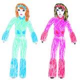również zwrócić corel ilustracji wektora Children rysunek odczuwanymi piórami ilustracji