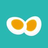 również zwrócić corel ilustracji wektora Ciężki Gotowany jajko pokrajać lub ciący w dwa połówki odizolowywającej Zdjęcia Stock