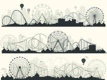 również zwrócić corel ilustracji wektora Ferris koło Karnawał Funfair tło Cyrka park podstawki rolki ilustracji