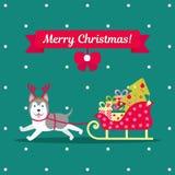 również zwrócić corel ilustracji wektora Husky niesie drużyny z prezentami i choinką Boże Narodzenia obrazują dla dekoraci Rok royalty ilustracja