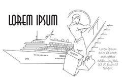 również zwrócić corel ilustracji wektora Kreskowa grafika Kobieta iść na podróży Zdjęcie Stock