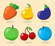 również zwrócić corel ilustracji wektora owoc ustawiają warzywa Obrazy Stock