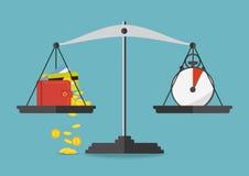 również zwrócić corel ilustracji wektora Pieniądze i czas równowaga na skala Zdjęcie Stock