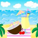 również zwrócić corel ilustracji wektora Plaża, morze, fala, chmury, drzewka palmowe kogut Zdjęcie Royalty Free